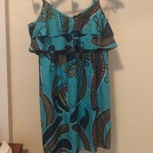 tibi silk ruffle mini sundress turquoise boho